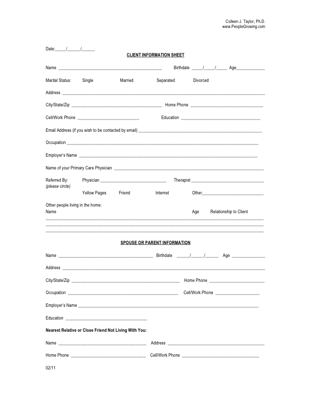Form For New Client Information